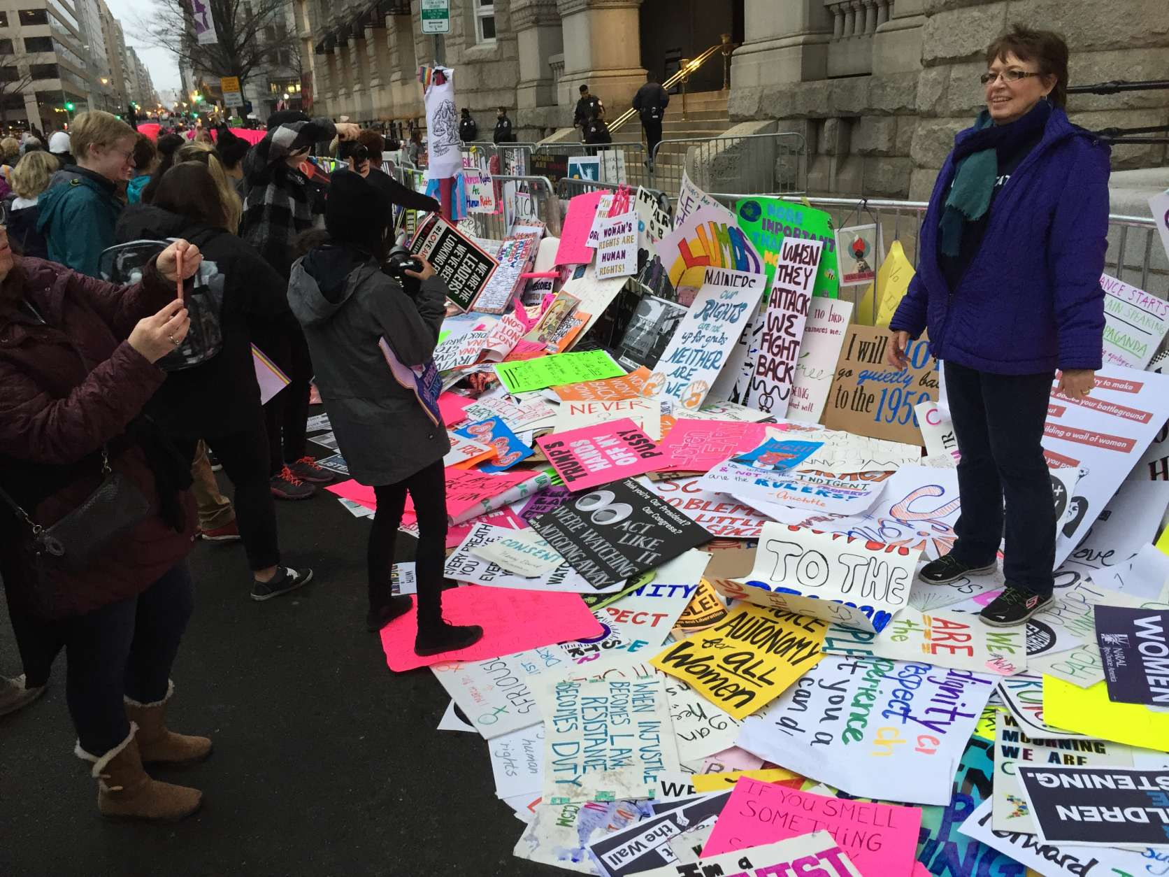 The scene outside Trump Hotel on Saturday, Jan. 21, 2017 during the Women's March on Washington. (WTOP/Judy Taub)