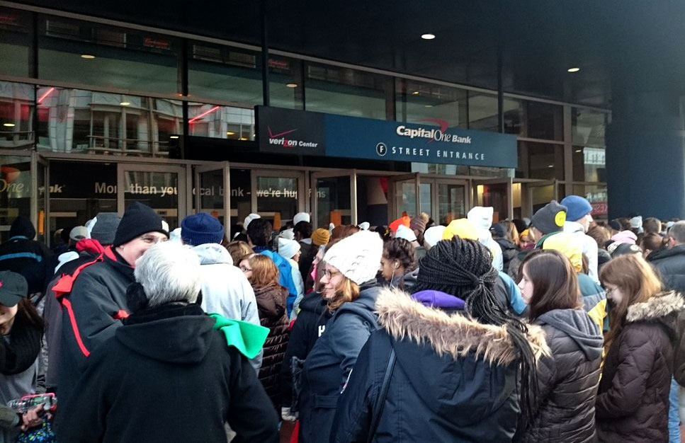A line forms outside for a youth service at the Verizon Center, ahead of the March for Life in Washington, D.C., on Friday, Jan. 27, 2017. (WTOP/Dennis Foley)