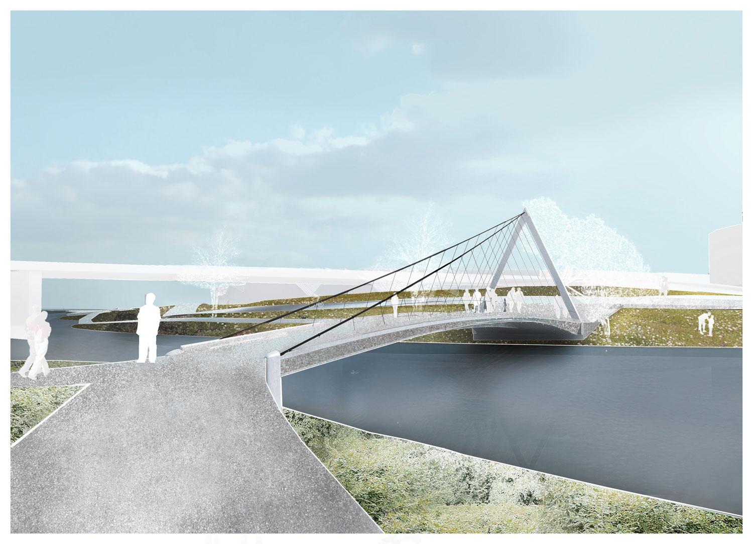 The proposed bridge from the south tip of Kingman Island to the RFK Site. (Courtesy: OMA/Events DC)