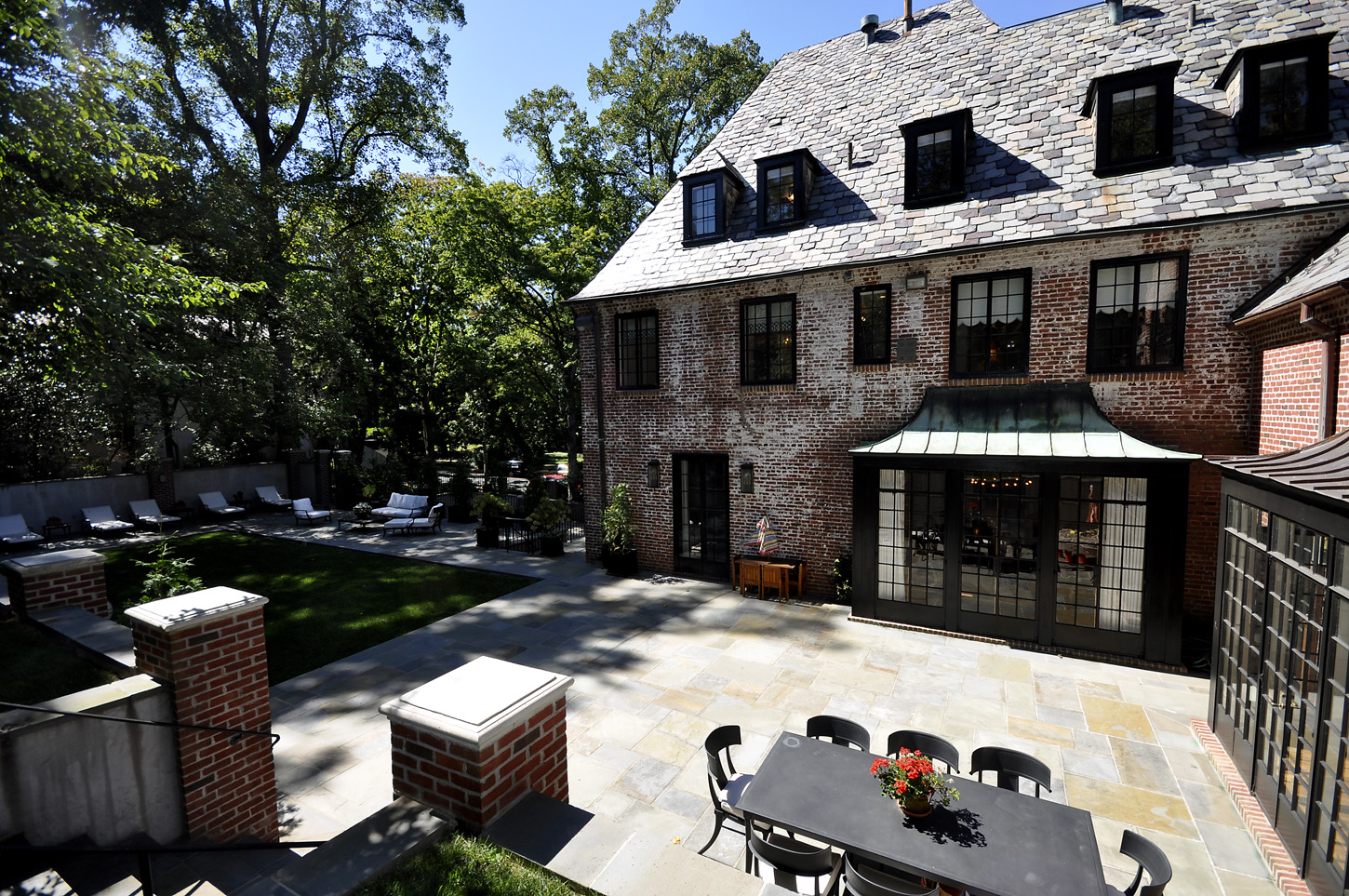 The rear garden in the Obamas' new house, in the Kalorama area of Northwest D.C. The garage fits two cars; the parking pad, six more. (Courtesy McFadden Group)