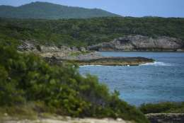 This Jan. 13, 2017 photo, shows the ocean view from the Ferro Port lighthouse, at Verdiales Key point on the south coast of Vieques island, Puerto Rico. Vieques, off the east coast of Puerto Rico, boasts gorgeous beaches, turquoise waters and a stunning bioluminescent bay. (AP Photo/Carlos Giusti)