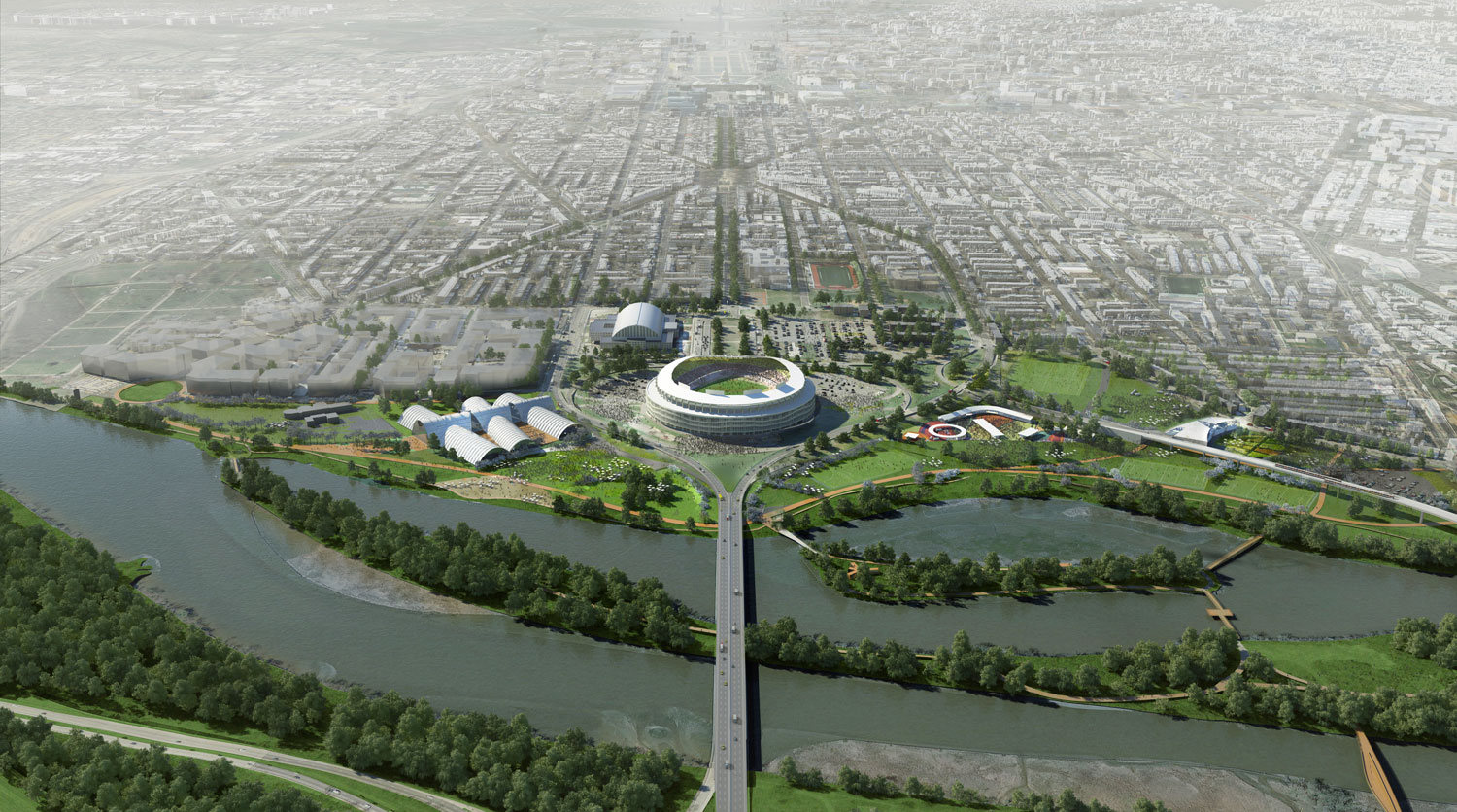 An aerial rendering of the short-term RFK site plans. (Courtesy OMA/Events DC)
