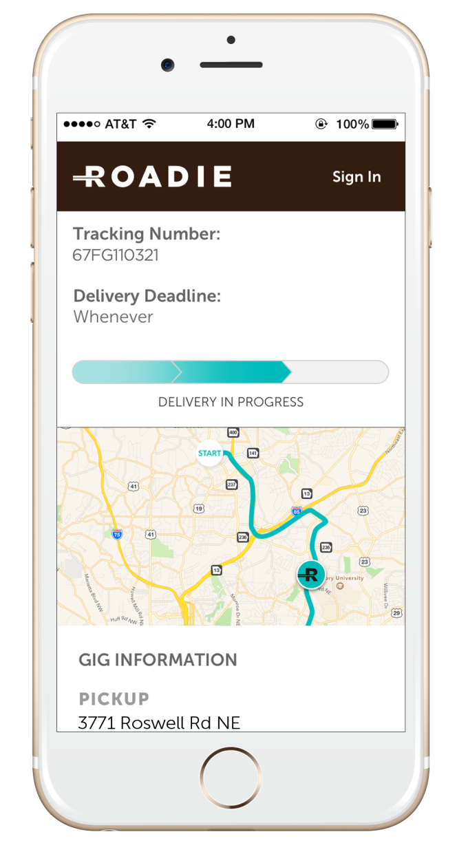 Roadie's sharing economy model connects people who have things to send someplace with drivers who are already headed in the right direction and have space in their vehicles to take the items. (Courtesy Roadie)