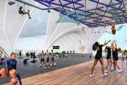 A rendering of the inside of the proposed sports and recreation complex. (Courtesy: OMA/Events DC)