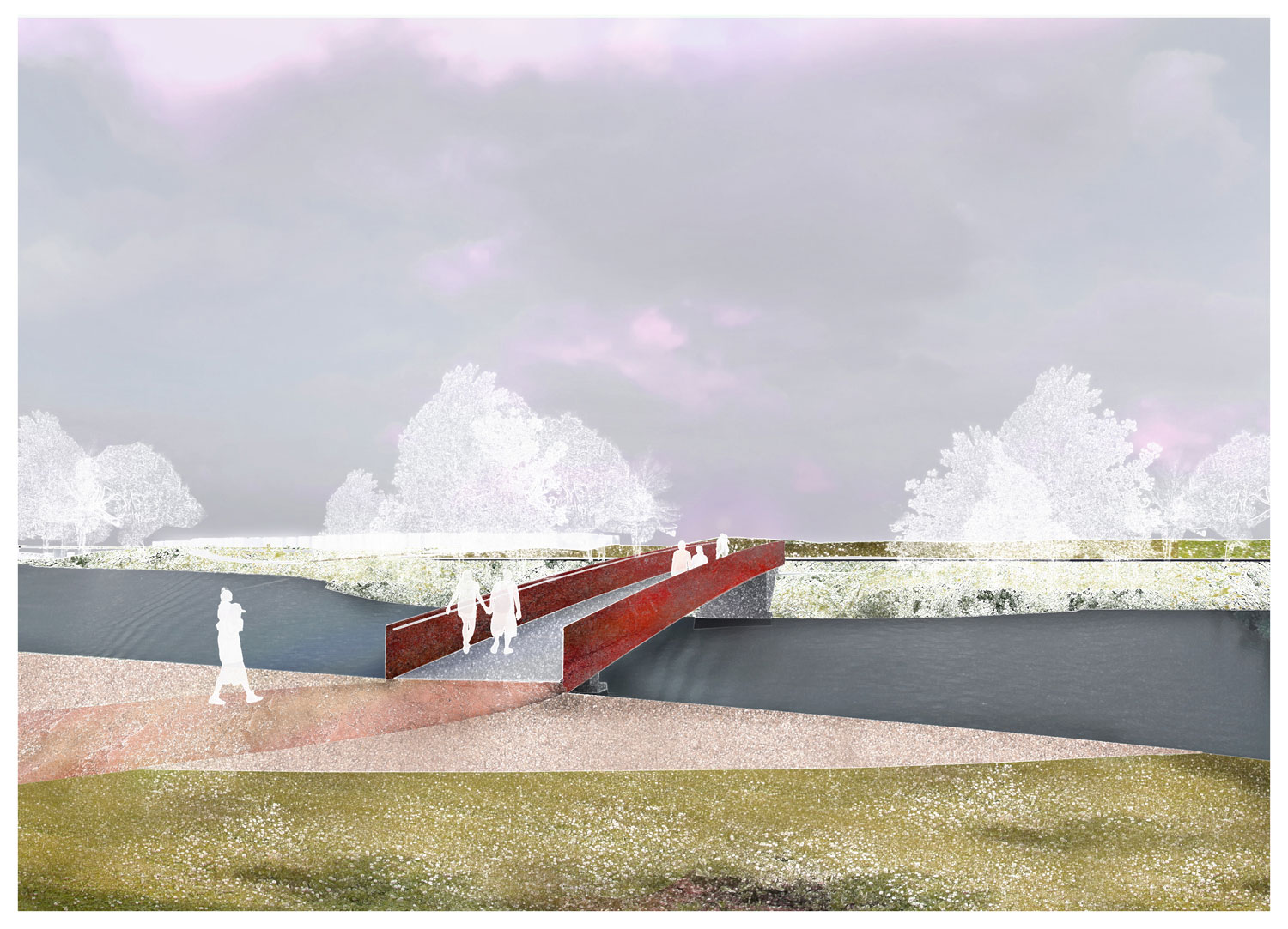 The proposed bridge from the south tip of Heritage Island to the RFK site. (Courtesy: OMA/Events DC)