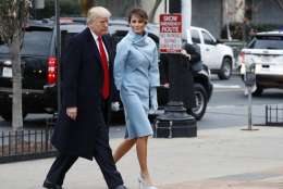 President-elect Donald Trump and his wife Melania arrives for a church service at St. John's Episcopal Church across from the White House in Washington, Friday, Jan. 20, 2017, on Donald Trump's inauguration day. (AP Photo/Alex Brandon)