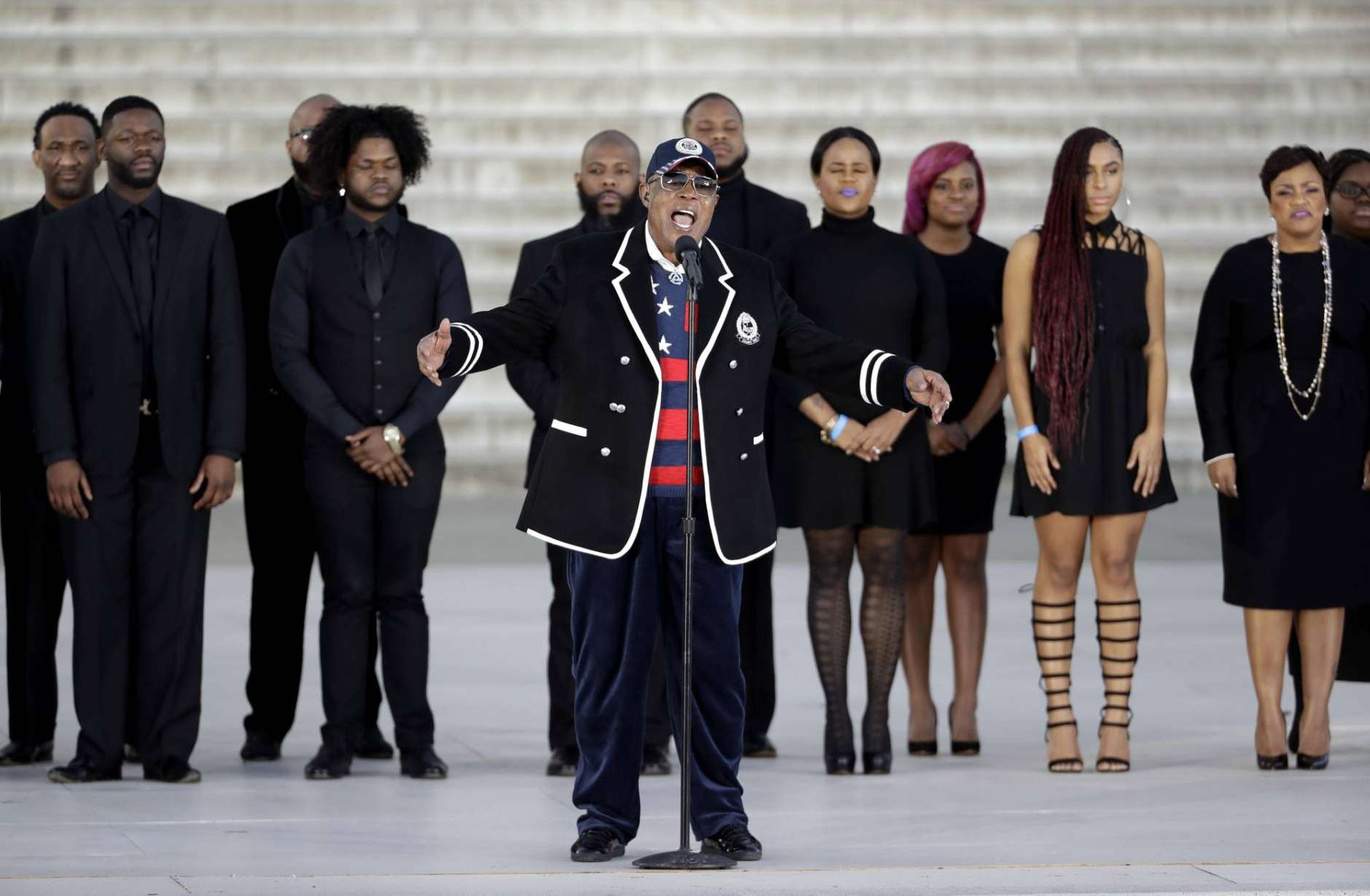 """Singer Sam Moore performs during a pre-Inaugural """"Make America Great Again! Welcome Celebration"""" at the Lincoln Memorial in Washington, Thursday, Jan. 19, 2017. (AP Photo/David J. Phillip)"""