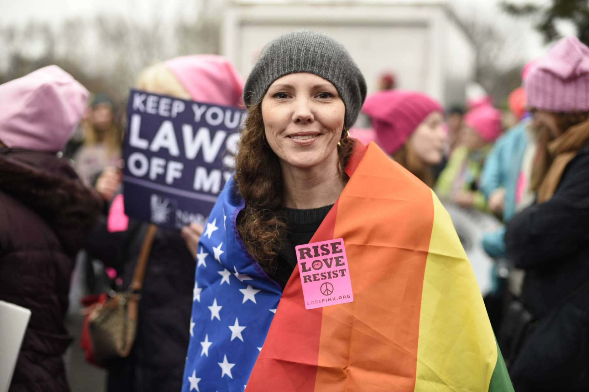 Nicole Monceaux from New York City, attends the Women's March on Washington on Saturday, Jan. 21, 2017 in Washington, on the first full day of Donald Trump's presidency.  Thousands are massing on the National Mall for the Women's March, and they're gathering, too, in spots around the world.  (AP Photo/Sait Serkan Gurbuz)