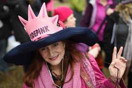 Jodi Evans from Los Angeles, Calif., attends the Women's March on Washington on Independence Ave. on Saturday, Jan. 21, 2017 in Washington, on the first full day of Donald Trump's presidency.  Thousands are massing on the National Mall for the Women's March, and they're gathering, too, in spots around the world.  (AP Photo/Sait Serkan Gurbuz)