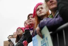 Protesters gather at the barricades for the Women's March on Washington during the first full day of Donald Trump's presidency, Saturday, Jan. 21, 2017 in Washington. (AP Photo/John Minchillo)