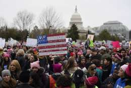 Participants gather for the Women's March on Washington on Independence Ave. on Saturday, Jan. 21, 2017 in Washington. Thousands are massing on the National Mall for the Women's March, and they're gathering, too, in spots around the world. (AP Photo/Sait Serkan Gurbuz)
