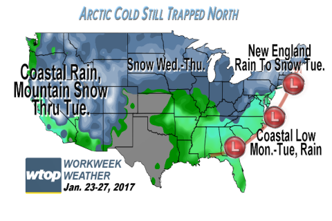 Workweek weather: Nor'easter will bring soaking rains