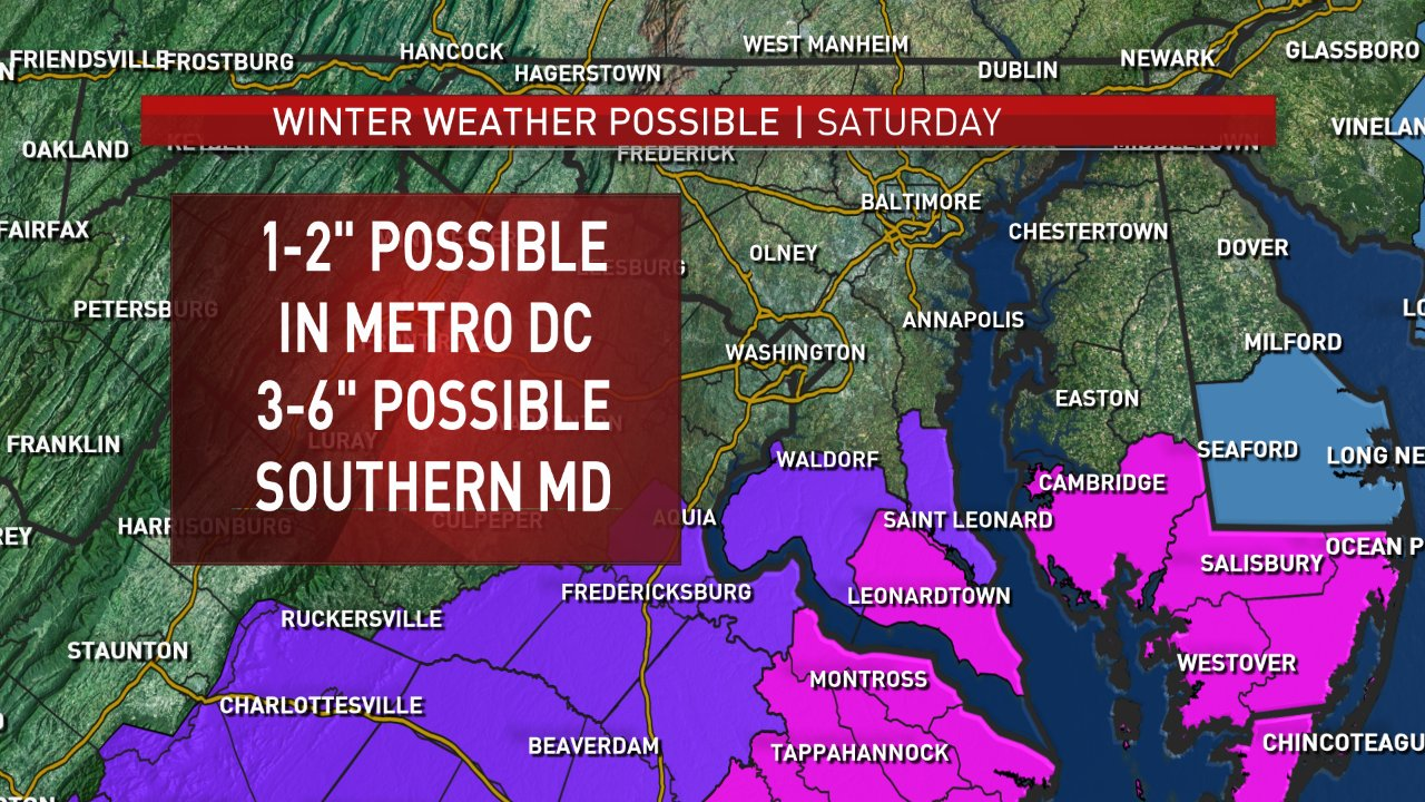 There's a Winter weather advisory, shown here in purple, in effect from 1 a.m. Saturday to 1 p.m. Saturday afternoon. Winter storm warning, in pink, is in effect from 1 a.m Saturday until 7 p.m. Saturday night. (Courtesy NBC Washington)
