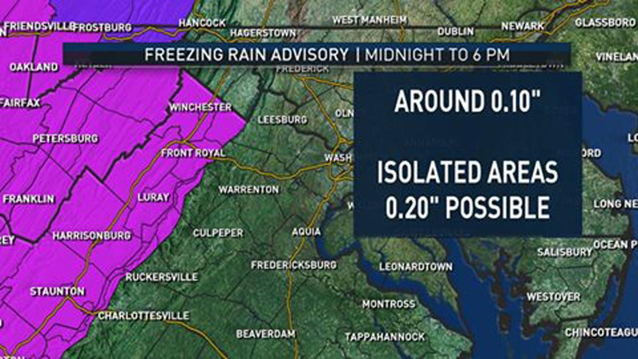 Freezing rain advisory posted for the Shenandoah Valley from Midnight tonight until 6pm on Saturday. (Courtesy of NBCWashington)