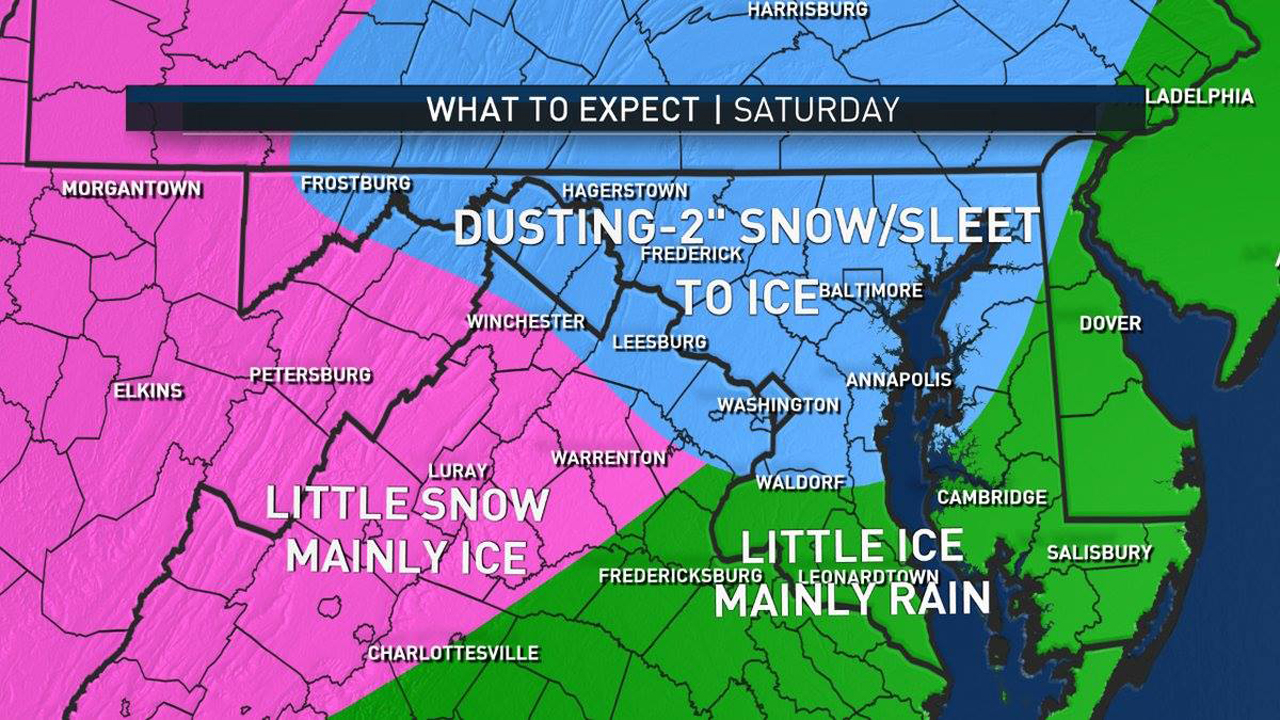 What you can expect through the region on Saturday. (Courtesy of NBCWashington)