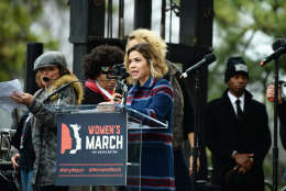 Actress America Ferrera speaks on stage during the Women's March on Washington on Saturday, Jan. 21, 2017. (Courtesy Shannon Finney)