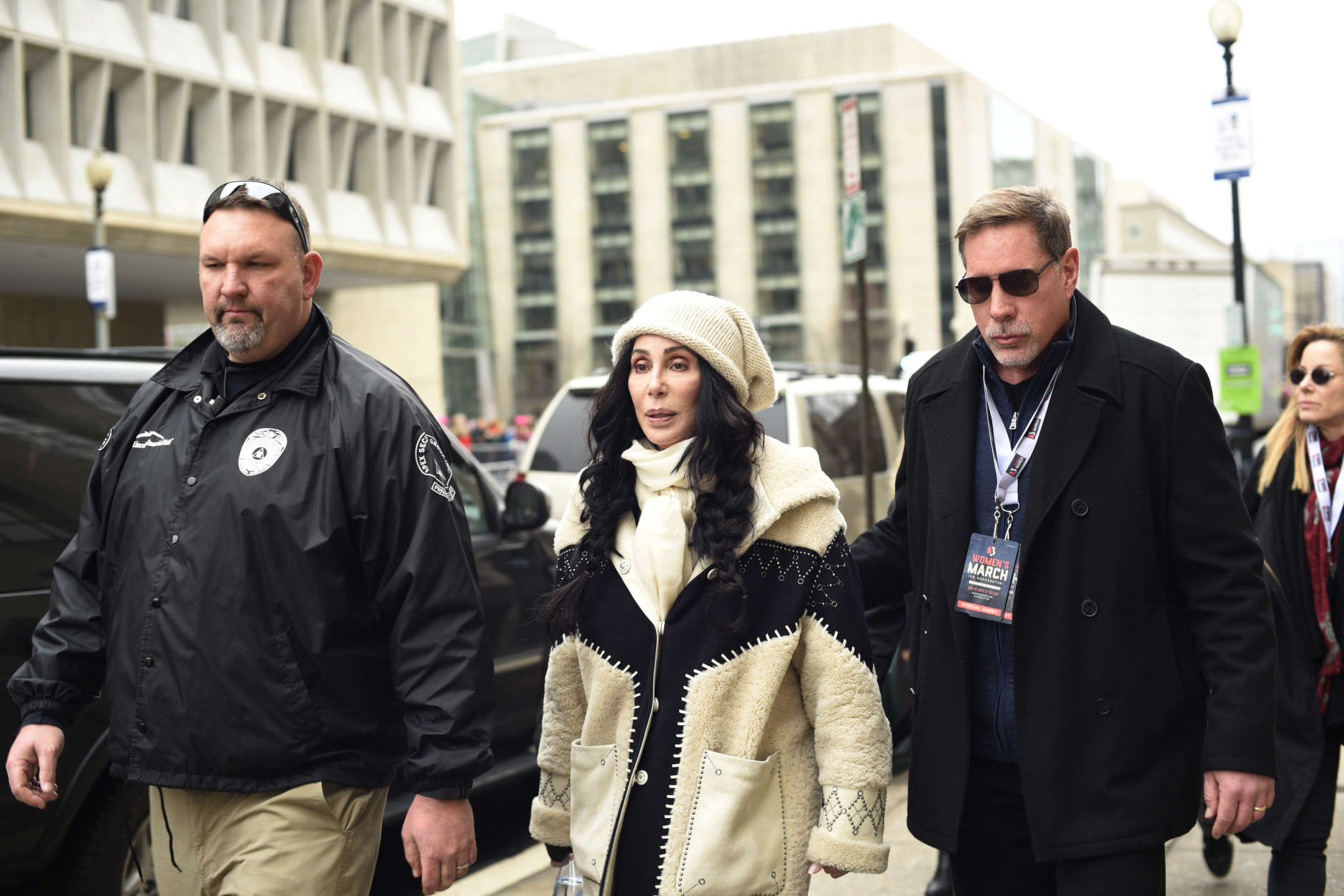 Cher arrives for the Women's March on Washington on Independence Ave. on Saturday, Jan. 21, 2017 in Washington. Thousands are massing on the National Mall for the Women's March, and they're gathering, too, in spots around the world. (AP Photo/Sait Serkan Gurbuz)