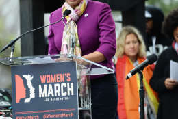 Washington, D.C. Mayor Muriel bowser takes the stage during the Women's March on Washington on Jan. 21, 2017. (Courtesy Shannon Finney)