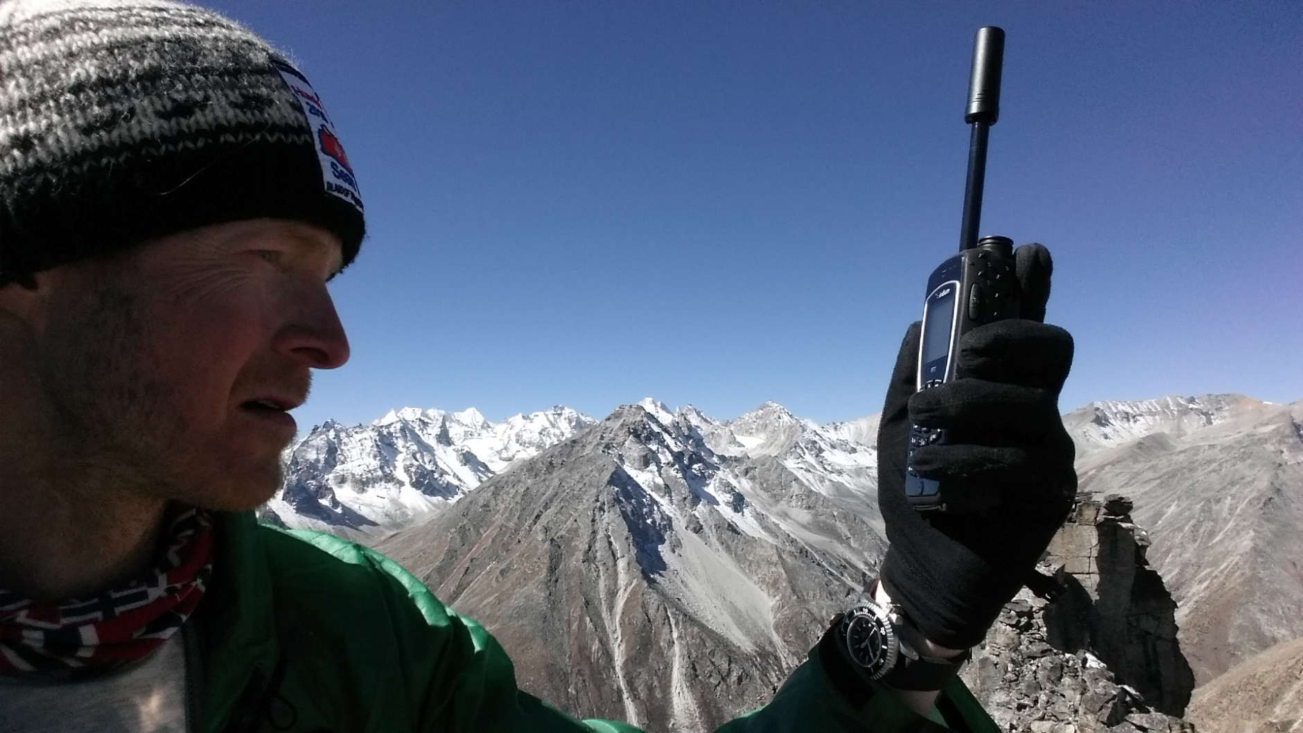 Va.-based adventurer Sean Burch used his push-to-talk device to help him claim world record climbs in Nepal. (Courtesy Sean Burch)
