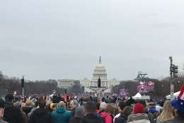 Crowds gather outside the U.S. Capitol to watch the televised Inauguration ceremony. (Courtesy Nathaniel Forzato)