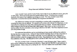 Every suspected heroin addict that is arrested in Anne Arundel County, Maryland, receives a letter from Police Chief Tim Altomare, pleading with them to let the department help them on the road to recovery. (Courtesy Anne Arundel County police)