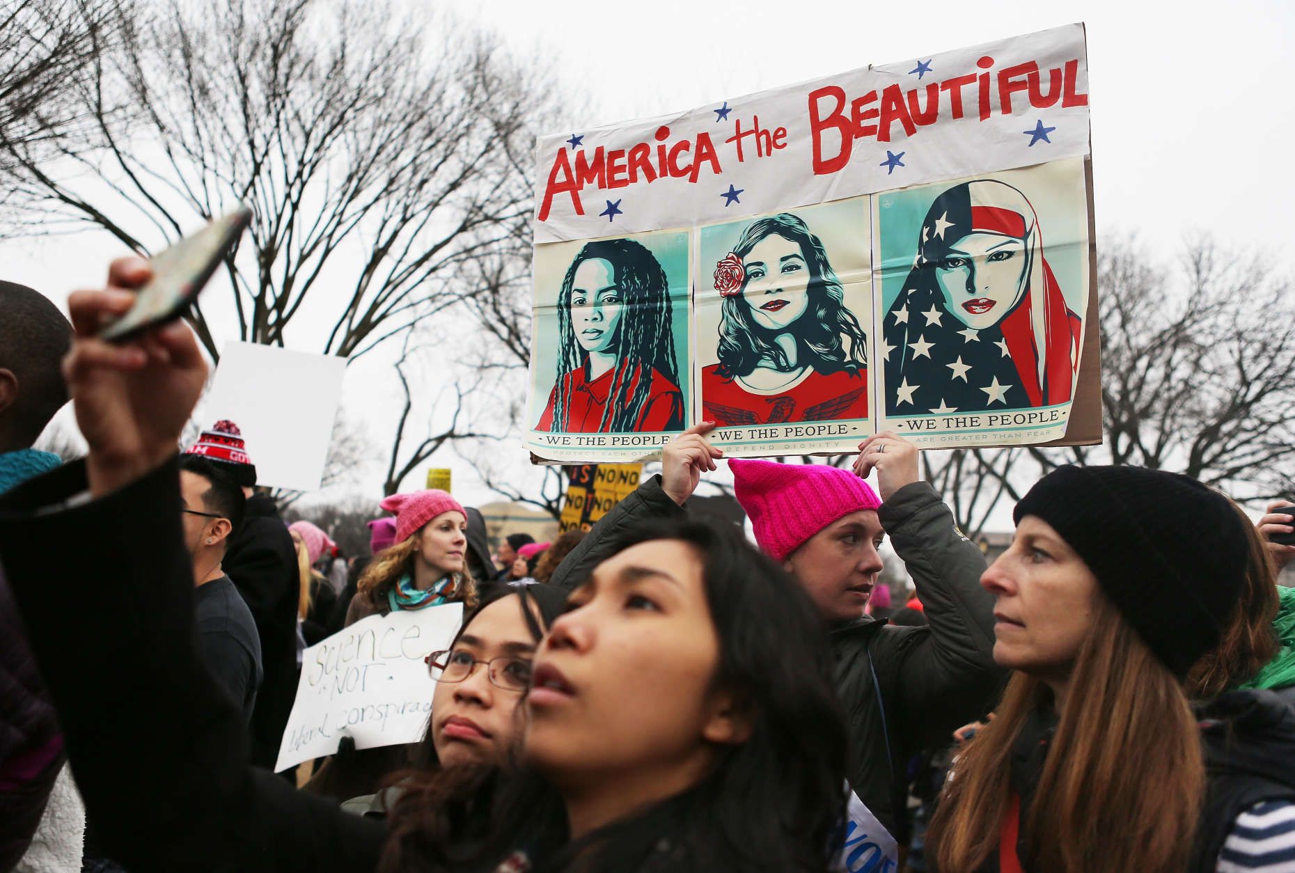 Protesters attend the Women's March on Washington on January 21, 2017 in Washington, DC. Large crowds are attending the anti-Trump rally a day after U.S. President Donald Trump was sworn in as the 45th U.S. president.  (Photo by Mario Tama/Getty Images)