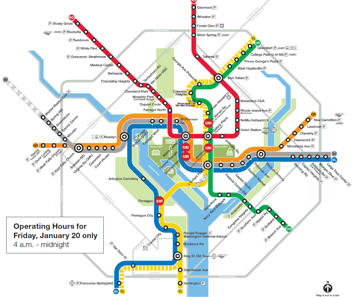 Metro Riders Urged To Plan Routes For Inauguration Day WTOP - Washington dc map with metro stations