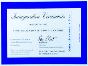 Roy Blunt, R-Mo., the chairman of the Joint Congressional Committee on Inaugural Ceremonies, unveils the official ticket for President-elect Donald Trump's Inauguration Day during a press conference on Thursday, Jan. 5, 2016. (Screen grab)