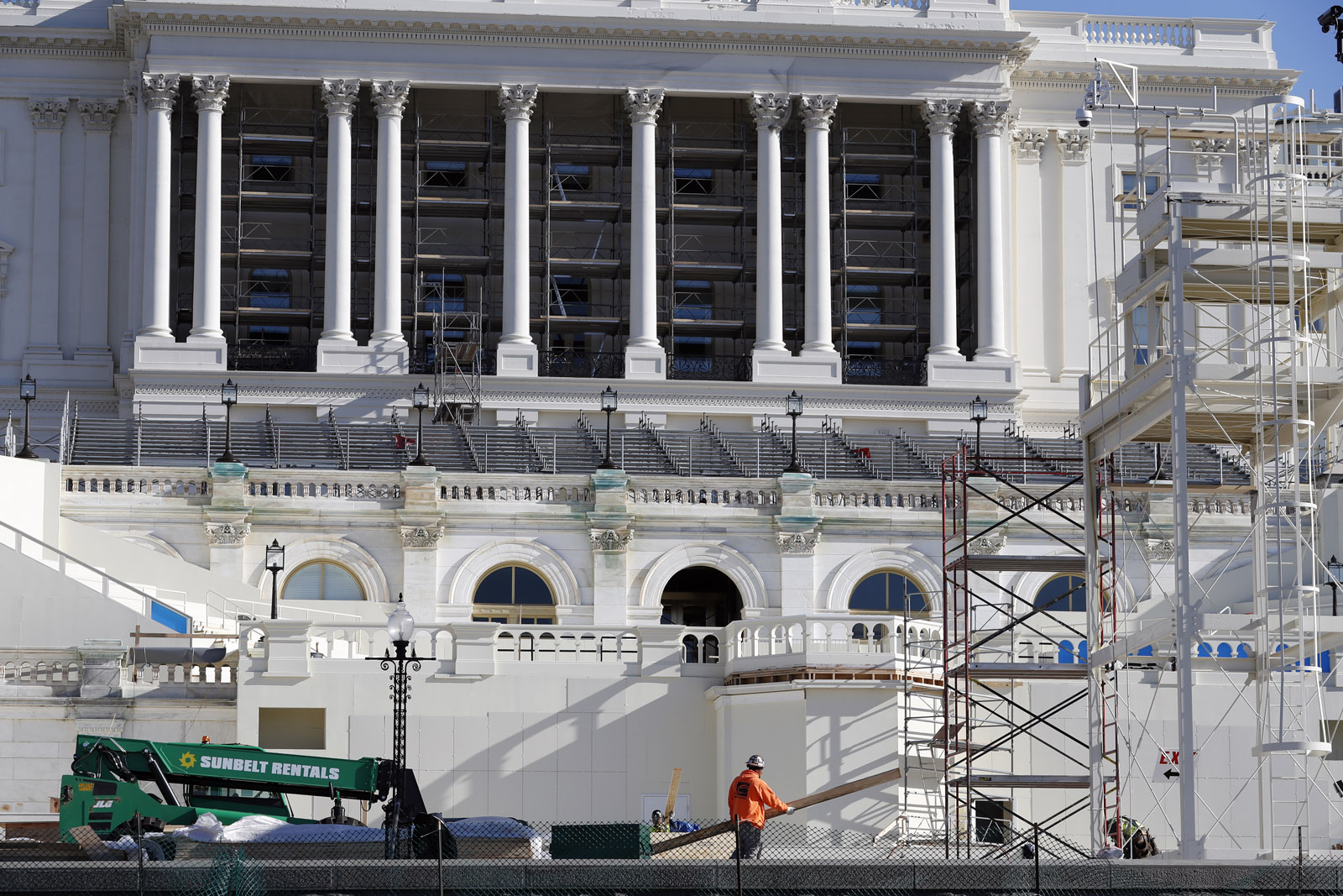 The West Front of the Capitol is seen as work continues on the stand for the inauguration of President-elect Donald Trump in Washington, Wednesday, Dec. 28, 2016. Trump will be sworn in at noon on Jan. 20, 2017 as America's 45th president. (AP Photo/Alex Brandon)