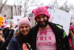"A man sports a shirt that reads, ""This is what a feminist looks like"" during the Women's March on Washington on Saturday, Jan. 21, 2017. (WTOP/Kate Ryan)"