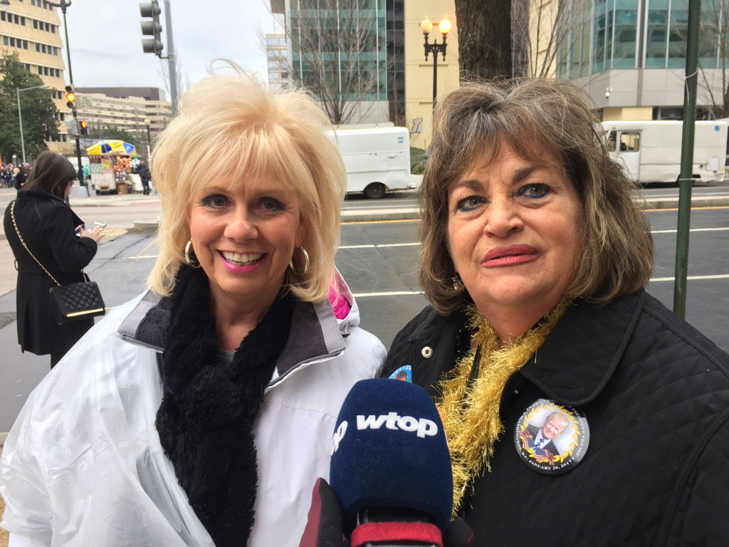 """These ladies from Reading, Pennsylvania have high hopes for Donald Trump. """"He's going to make America wonderful,"""" they told WTOP's Kristi King. (WTOP/Kristi King)"""