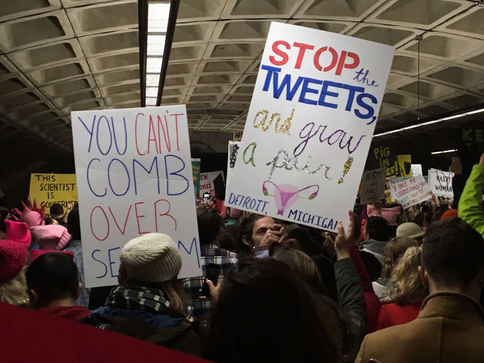 The crowds just kept coming at L'Enfant Plaza on the morning of the Women's March on Washington, Saturday, Jan. 21, 2017. (WTOP/Max Smith)
