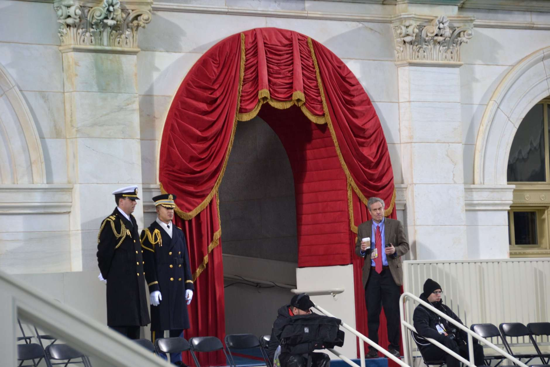 When Donald Trump walks back out through this portico, he will be the 45th president of the United States. (WTOP/Brennan Haselton)