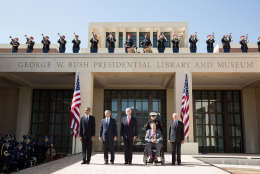 President Barack Obama pauses with former Presidents George W. Bush, Bill Clinton, George H.W. Bush, and Jimmy Carter during the dedication of the George W. Bush Presidential Center at the George W. Bush Presidential Library and Museum on the campus of Southern Methodist University in Dallas, Texas, April 25, 2013. (Official White House Photo by Pete Souza)   This official White House photograph is being made available only for publication by news organizations and/or for personal use printing by the subject(s) of the photograph. The photograph may not be manipulated in any way and may not be used in commercial or political materials, advertisements, emails, products, promotions that in any way suggests approval or endorsement of the President, the First Family, or the White House.