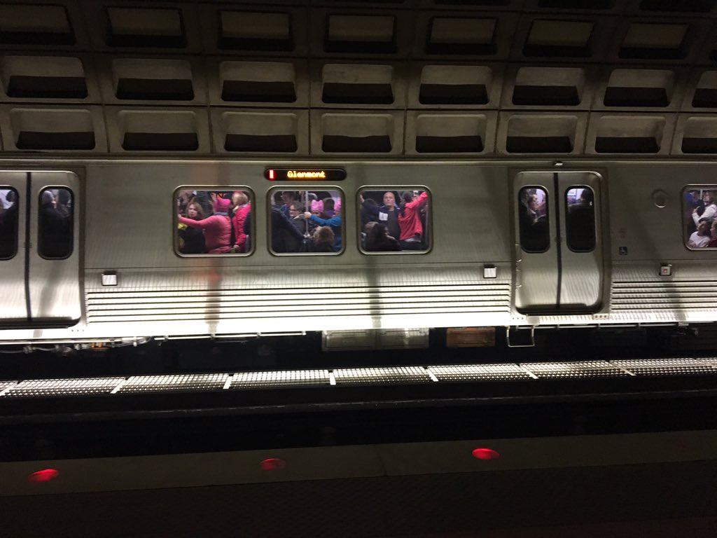 A packed red line train carrying people toward the Women's March on Washington in D.C. on Saturday, Jan. 21, 2017. (WTOP/Max Smith)