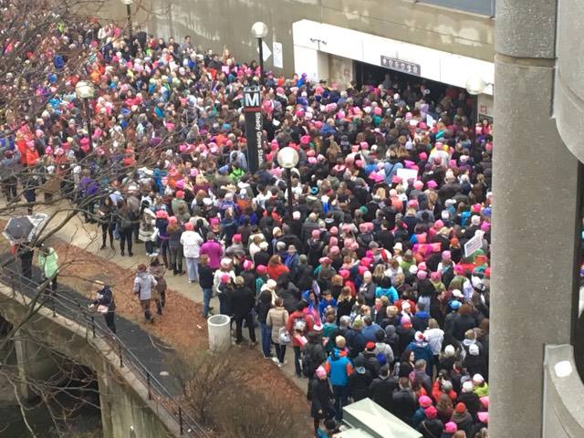 FILE -- Large crowds wait to get into Shady Grove metro station to head toward the Women's March on Washington. (Courtesy Jennifer Davis)