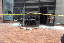 A Starbucks on I Street NW suffers the damage as protests in the District escalate. (WTOP/Dennis Foley)