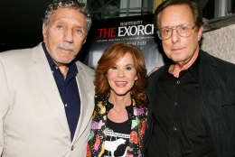 """In this photo released by Starpix, """"The Exorcist"""" author William Peter Blatty, left, joins Linda Blair, who starred in the 1973 film and William Friedkin, the film's director, at a screening of the remastered film, Wednesday, Sept. 29, 2010 held at the Museum of Modern Art in New York. (AP Photo/Starpix, Dave Allocca)"""