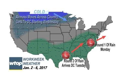 Workweek weather: Wet, cold, maybe something on Friday