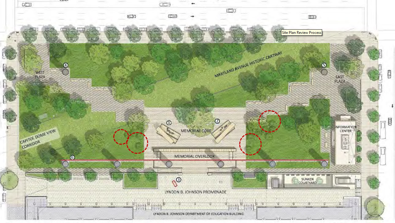 The trees highlighted with a red border are marked for removal in the proposal to improve the sight lines to the memorial tapestry. (Courtesy National Capital Planning Commission)