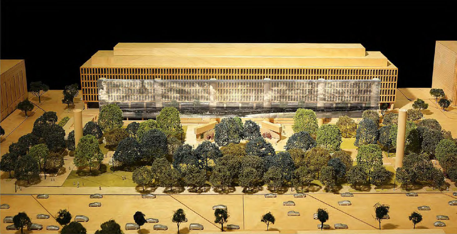 This photo of the physical model of the memorial shows how the tapestry will be used as a backdrop for the park.(Courtesy National Capital Planning Commission)