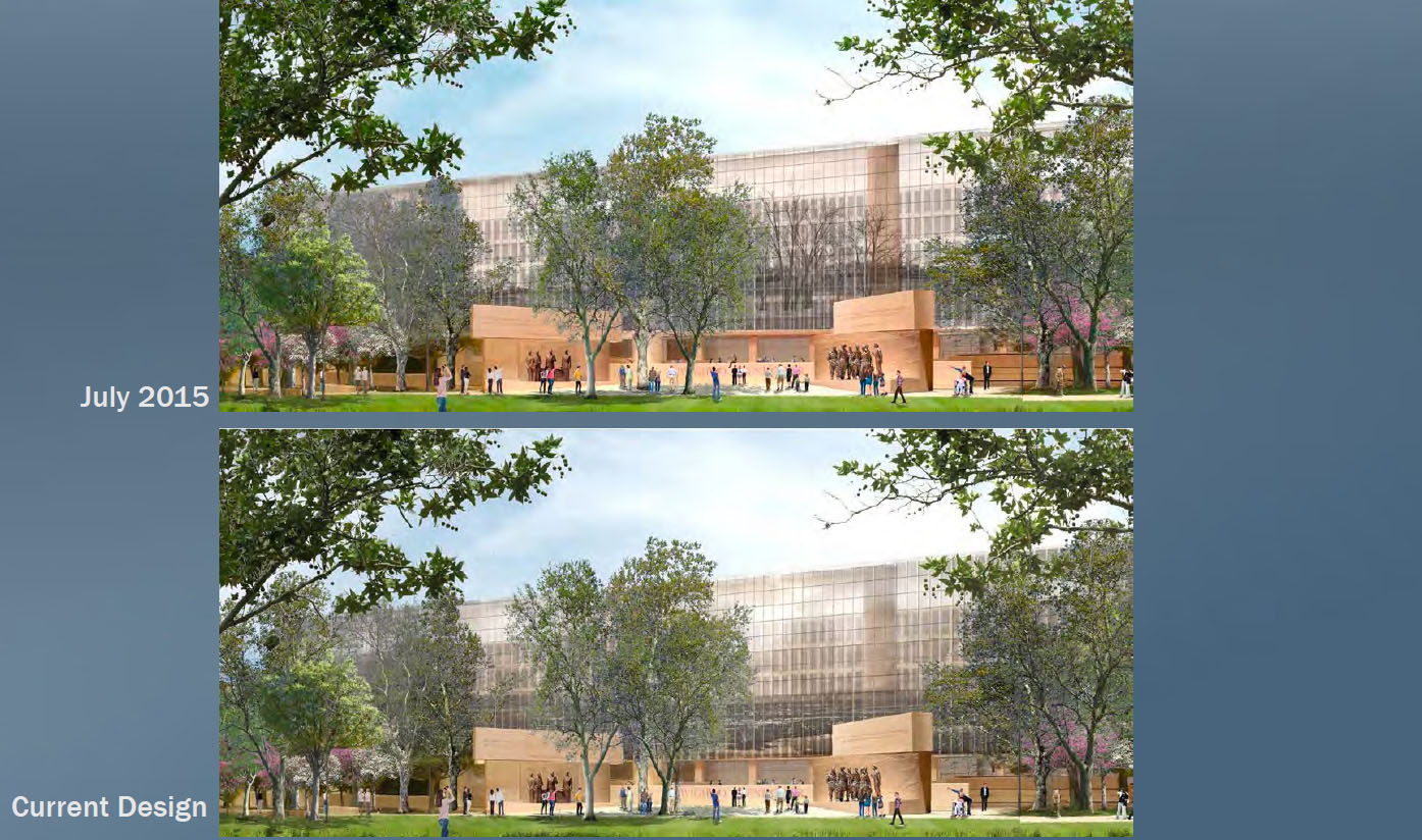 The design has always been transparent but the new design features a sky instead of trees, which proponents say creates a clearer view through the woven metal. (Courtesy National Capital Planning Commission)