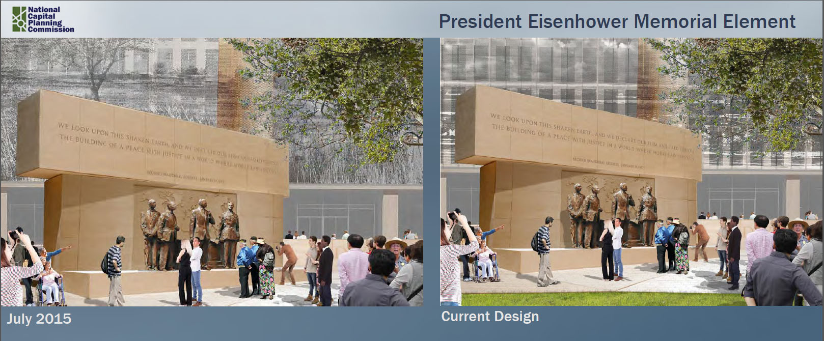 The memorial will feature quotes from President Eisenhower which have not changed significantly since the July 2015 approved design. (Courtesy National Capital Planning Commission)