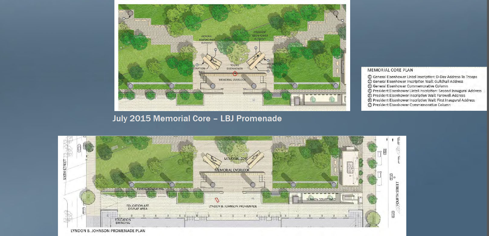 "This slide depicts the change in location of the ""Young Eisenhower"" statue. (Courtesy National Capital Planning Commission)"