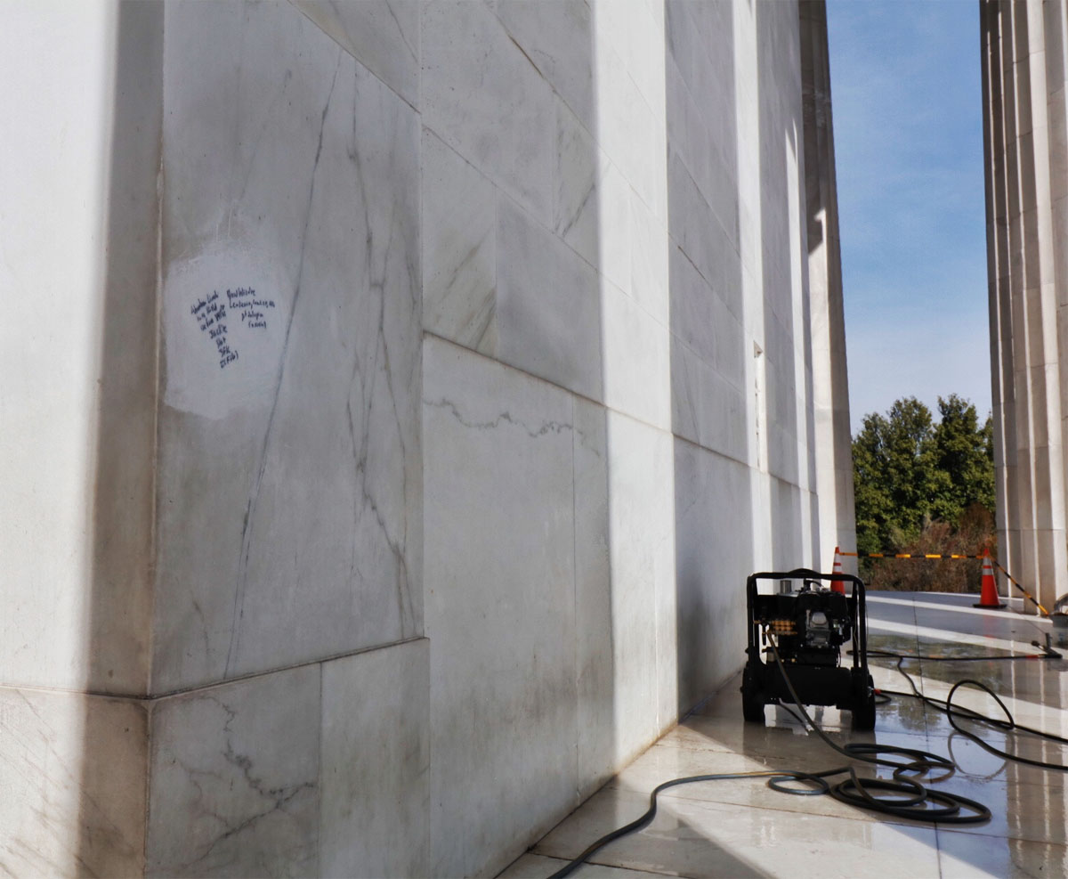 Graffiti is shown here scrawled on the Lincoln Memorial. (WTOP/Kate Ryan)