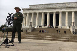 National Park Service spokesman Mike Litterst addresses reporters Feb. 21 about three acts of vandalism report at national monuments over the President's Day weekend. (WTOP/Kate Ryan)