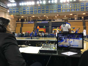 87ers broadcaster Varun Raghupathi calls the game for radio and the Facebook Live feed. (WTOP/Noah Frank)