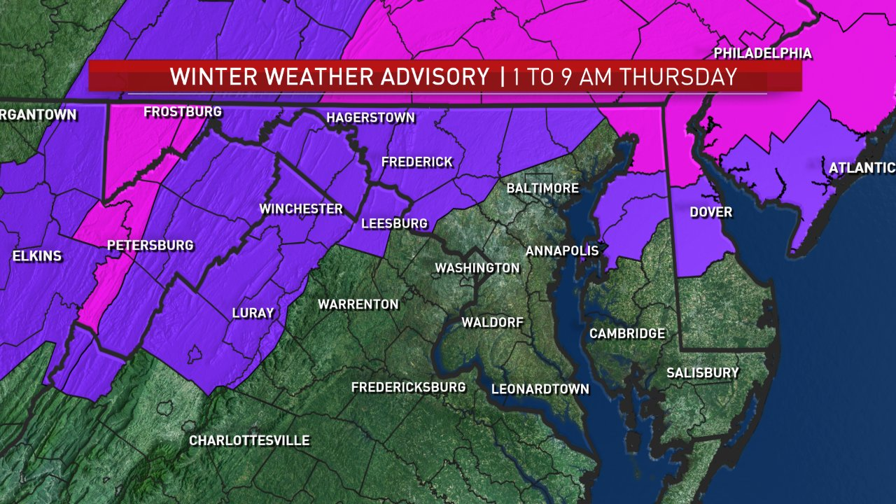 A Winter Weather Advisory is effect for the areas in purple from 1 to 9 a..m. Thursday. (Courtesy NBC Washington)