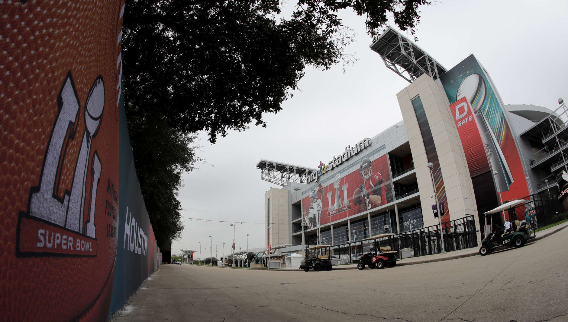 NRG Stadium, site of the NFL Super Bowl 51 football game, is pictured Saturday, Feb. 4, 2017, in Houston. The New England Patriots will face the Atlanta Falcons in the Super Bowl Sunday. (AP Photo/Charlie Riedel)