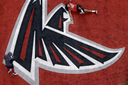 Atlanta Falcons' Jalen Collins warms up before the NFL Super Bowl 51 football game against the New England Patriots Sunday, Feb. 5, 2017, in Houston. (AP Photo/Tim Donnelly)